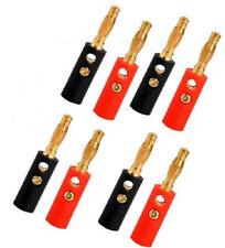 8 pezzi connettore audio banana 4mm spinotto cavo altoparlanti 4 rossi + 4 neri