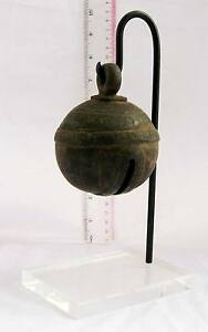 RUSTIC Old Karen Hill Tribe Bronze Round Elephant Bell & Stand 650g