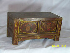 Antique Chinese Qing Dy Hand Painted Opium Wood Table Cabinet