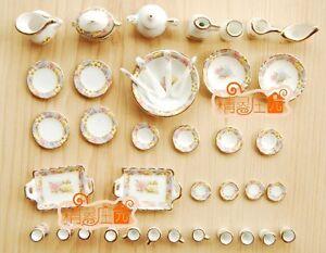 1:12 Dollhouse Miniature Porcelain Vintage Dinnerware Tea Cup Dish Plate 40PCS