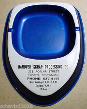 PA Hanover Scrap Processing Poplar Street Pennsylvania Vintage MCM Blue Ashtray