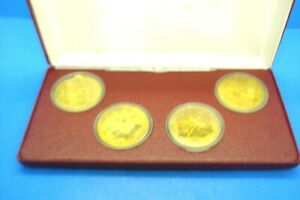 1980 CHINESE WINTER OLYMPIC 4 COIN SET--BOXED--BRASS--LAKE PLACID
