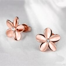 ROSE GOLD ON White Gold Plated HAWAIIAN PLUMERIA FLOWER STUD EARRINGS CZ 6MM