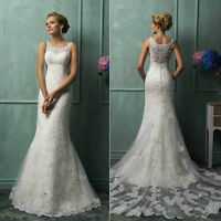 Custom New White/Ivory Lace Bridal Gown Wedding Dress Size 6 8 10 12 14 16 18++