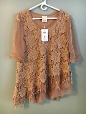 Pretty Angel Women's M Beige Vintage Clothing Top 3/4 Sleeved Blouse NWT