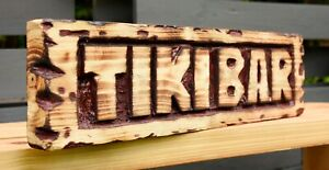 Wooden Chainsaw Carved Rustic Tiki Bar Sign Hand Crafted Oiled & Varnished