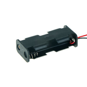 1Pc Black Plastic Battery Holder Case w Wired for 2 x AA BatterieY^lk