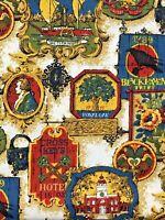 Vtg Early American Patriotic Barkcloth Fabric 6 1/3 Yards House N Home Decor NOS