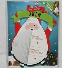 Named 'Owen' Christmas card with 3D pop out hanging bauble