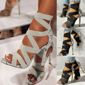 Women Open Toe Snakeskin Stiletto Ladies Bandage High Heels Shoes Sandals Size