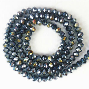 1 Strand 4x3mm Gray Crystal Glass Faceted Wheel Spacer Beads 15.5inch BB4678k