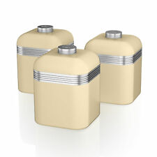 Swan Retro Set of 3 Cream Tea Coffee Sugar Spices Herb Canisters Kitchen Storage