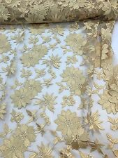 """Gold Embroidered Flower Lace 55"""" Inches Wide Fabric Sold By The Yard"""