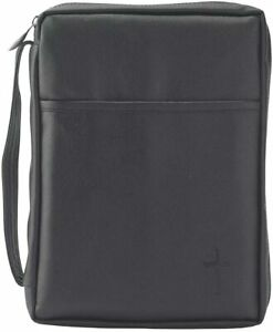 Black Outer Pocket Leather Like Vinyl Bible Cover Case with Handle