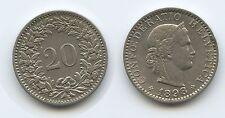 G3226 - Schweiz 20 Rappen 1898 B RAR KM#29 Switzerland Suisse Helvetia