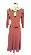 LEONA EDMISTON Frocks Dress- Vintage/1940s 3/4 Sleeve Rose Pink Black- Sz1-10/12