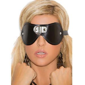 Padded Leather Blindfold D Ring Detail Adjustable Sleep Mask Fleece Lined L9439