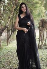 Black Bollywood Saree Sequence Border Sari Blouse Wedding Pakistani Indian Party