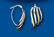 Gold Creole Hoop Earrings Yellow and White gold Two Colour Wave Design