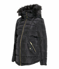 NEU H&M MAMA Umstandsjacke Winterjacke Jacke Fellkapuze schwarz L ca. 42 44