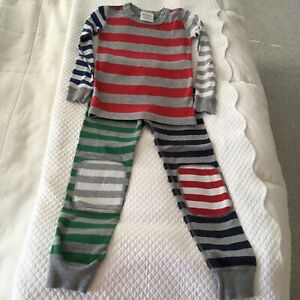 NEW HANNA ANDERSSON BOYS PAJAMAS SIZE 5 STRIPED MULTI-COLORS