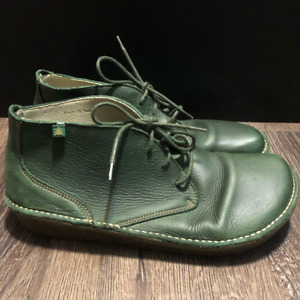 Dani Garcia El Naturalista Womens Ankle Boots Green Leather Flat Laces Shoes 9.5
