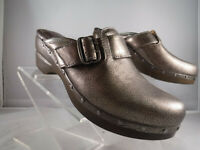 PFR Nurture Libby Metallic Pewter Leather Studded Wedge Slide Clogs Mules Sz 7.5