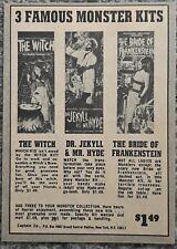 VINTAGE 1969 AURORA WITCH BRIDE OF FRANKENSTEIN DR JEKYLL MONSTER ADVERTISEMENT