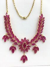 14k Solid Yellow Gold Flower Cluster Pendant Necklace/ Chain, Natural Ruby