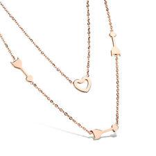 Luxus 2 Reihige Kette Herz Heart Pfeil Arrow 316 Edelstahl 18K Rosegold pl.