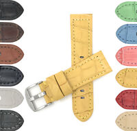 Bandini Mens Leather Watch Band Strap, Alligator Pat, 12 Colors, 18 20 22 24mm