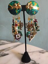 "LUNCH AT THE RITZ VINTAGE ""SEASON'S GREETINGS"" CHANDELIER/DANGLE EARRINGS, 1994"