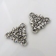 2pcs Antiqued Silver - Brass 3-Way Flower Connectors, Made in the USA