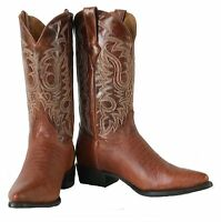 Men's New Exotic Lizard Design Leather Cowboy Western Rodeo Boots Cognac J Toe
