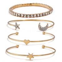 4 Pcs Charm Simple Love Heart Moon Star Heart Crystal Bracelet SALE