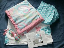 My Baby Sam 3 PC Crib Set Pixie Baby Aqua Bedding Paisley Polka Dots Patchwork