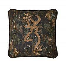 """Browning 3D Buckmark 1 Decorative Throw Pillow 18""""x18"""" Square Camo Deer Logo"""