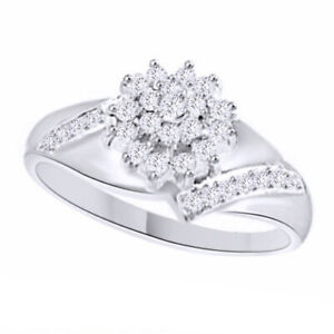 3/10 CT Round Simulated Diamond Prong-set In 18K Gold Over Flower Cluster Ring