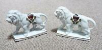 Eastbourne - Vintage Pair of Crested Ware China Lions