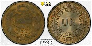 1948 PERU 1 SOL DE ORO PCGS MS65 UNC TONED BEAUTIFUL SELECT COIN FINEST KNOWN