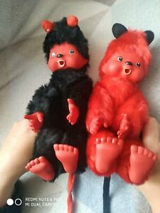 Monchichi DEVIL Ver Vintage Monchhichi's Plush Doll Stuffed Toy