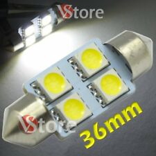 2 Lampade Siluro 36mm Led 4 SMD Luci Auto Xenon Lampadine BIANCO Interno Targa
