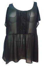 Torrid Top Size 3 Black Sheer Short Sleeve EUC