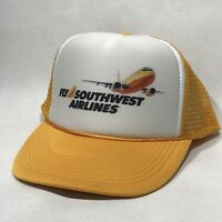 Fly Southwest Airlines Trucker Hat Vintage Retro Airplane Plane Yellow Cap