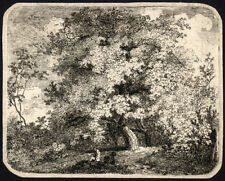 Antique Master Print-LANDSCAPE WITH TREES AND TRAVELLERS-Schmitt-1787