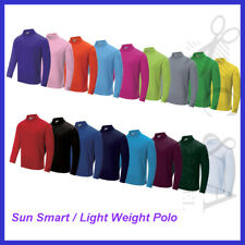 Kids Boys Girl Sun Smart Long Sleeve Light weight Polo W/ Anti Bacterial Coating