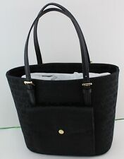 ee1c4e672308 NEW AUTHENTIC MICHAEL KORS BLACK JET SET ITEM MD PKT MF TOTE SIGNATURE  HANDBAG
