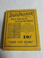 1926 DAD'S PUZZLER WOOD PUZZLE IN ORIGINAL BOX BRAIN TEASER GAME
