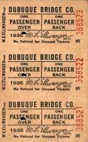 Set 3 Dubuque Bridge Co Tickets W E Ellwanger 1935 Eagle Point Bridge Iowa Over