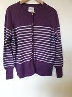 Mantaray Purple Striped Thin Knit Cotton Cardigan Top Size 18